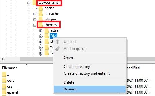 rename theme folder wordpress login not working