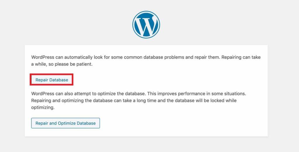 repair database wordpress login not working