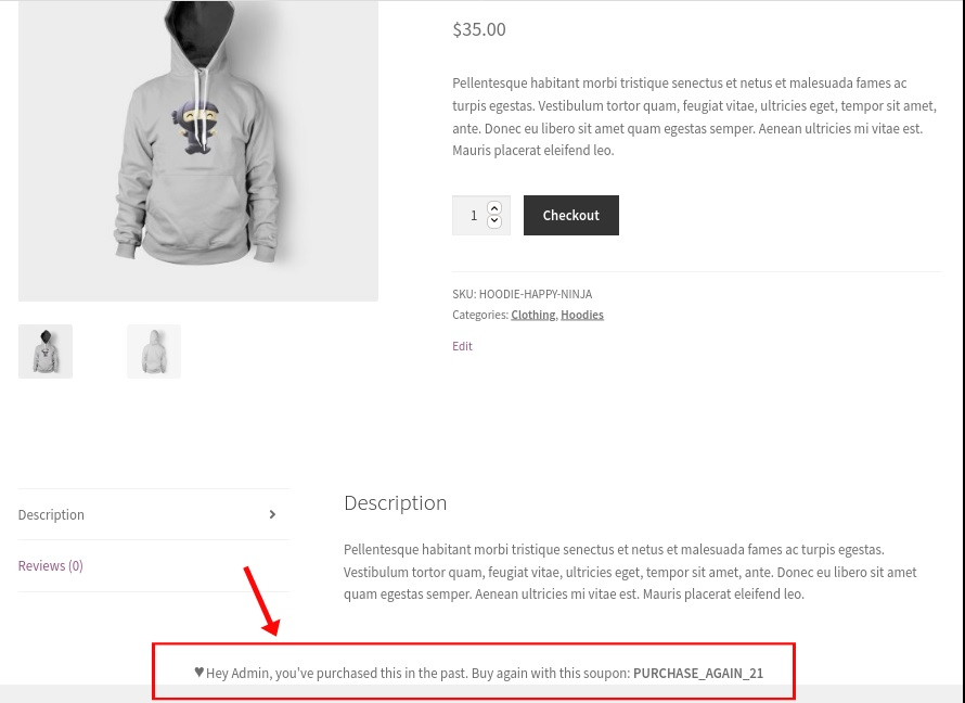 repeated order example customize woocommerce templates