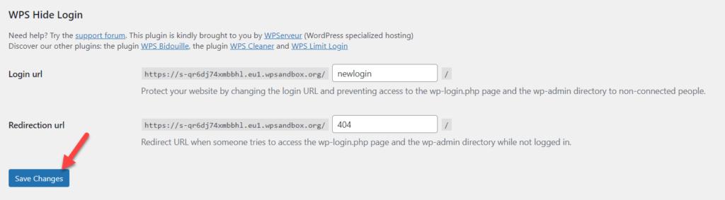 modifier l'URL de la page de connexion WordPress - enregistrer wps masquer la connexion
