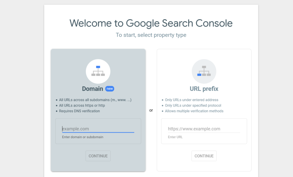 add WordPress site to Google Search Console - gsc home