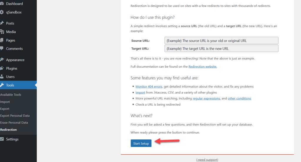 redirect a wordpress page - start plugin settings