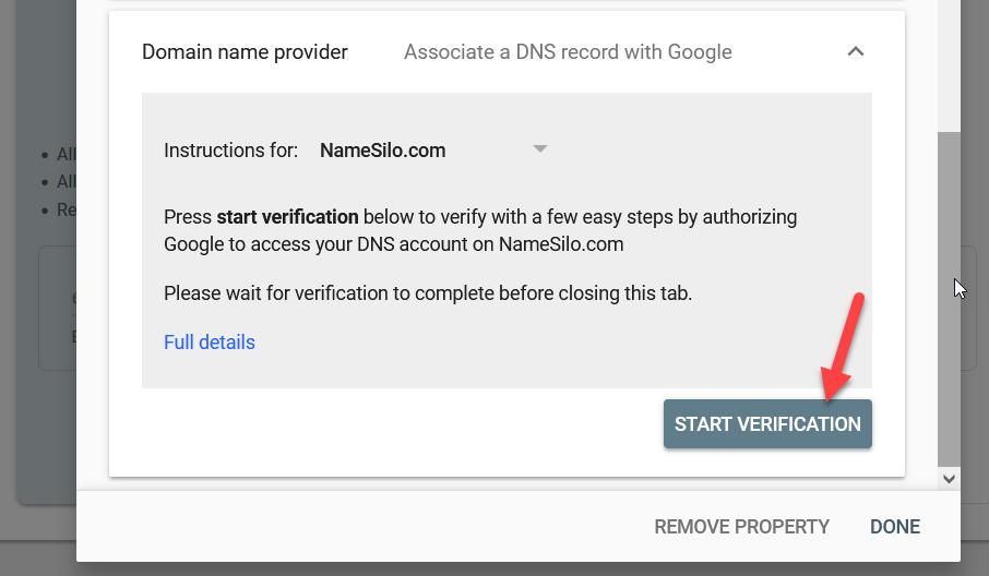 add WordPress site to Google Search Console - start verification