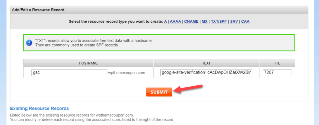 add WordPress site to Google Search Console - submit txt record