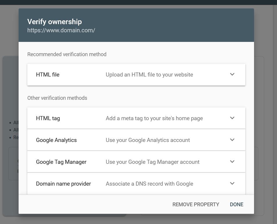 add WordPress site to Google Search Console - verify gsc property