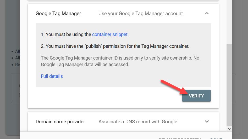 verify tag manager