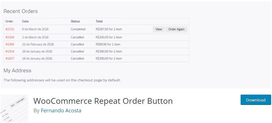 woocommerce repeat order button repeat orders in woocommerce