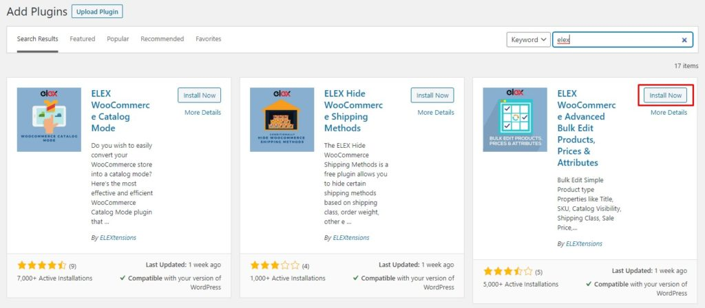 Install ELEX WooCommerce Product Bulk Edits Plugin
