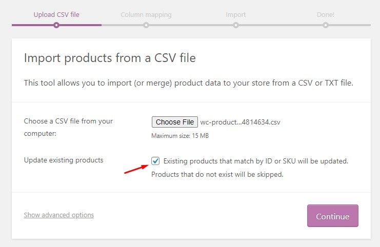 Import Products from a CSV File
