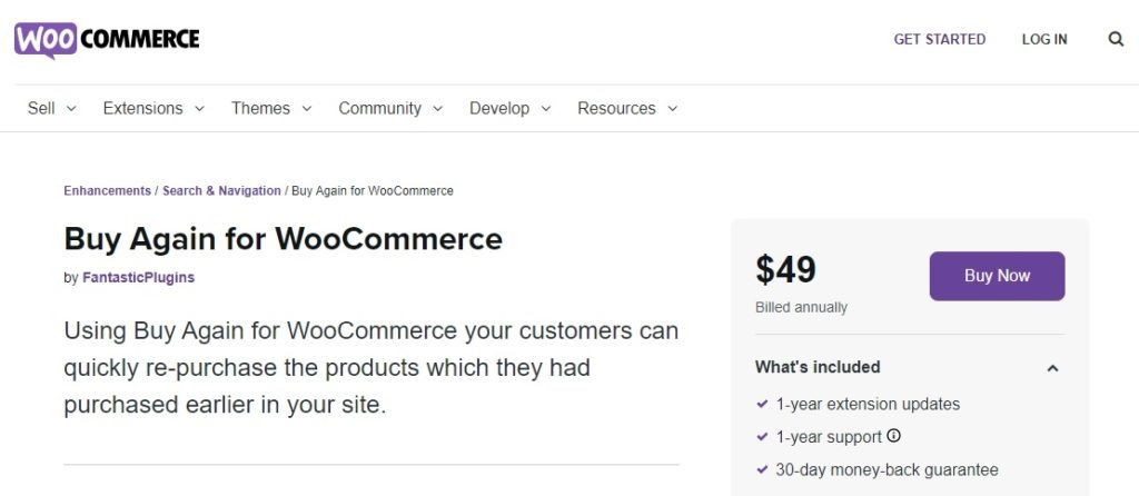 buy again for woocommerce plugins to repeat orders