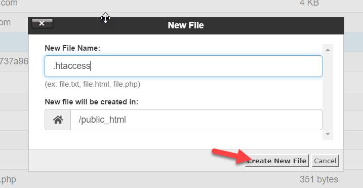 create new htaccess file