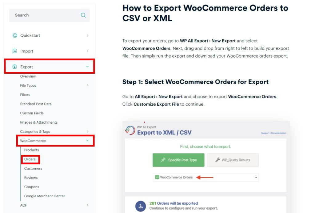 documentation woocommerce order export