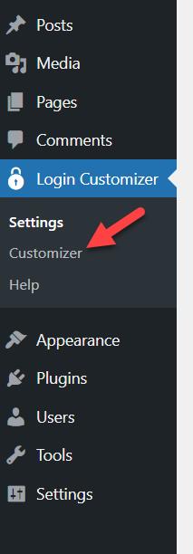 login customizer settings