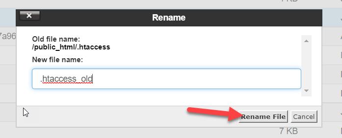 rename htaccess file