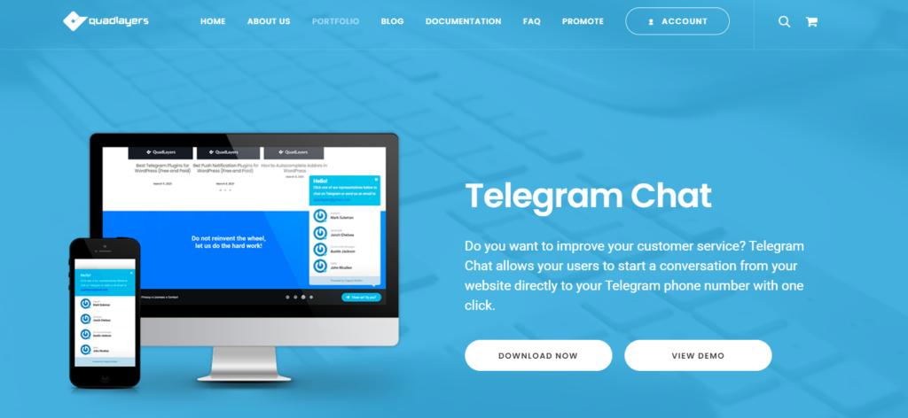 wordpress customer support plugins - telegram chat