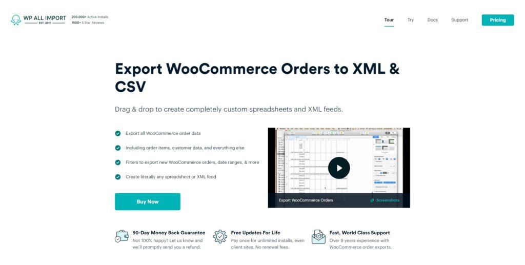 woocommerce order export homepage