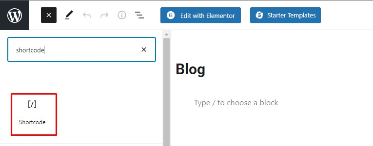 Add a Shortcode Block to Blog Page